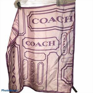 Coach Lavender 100% silk LOGO signature scarf